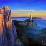 Obraz olejny z fantastycznymi budowlami na wysokich skałach, oświetlonymi ostatnimi promieniami zachodzącego słońca ponad zamglonymi dolinami.